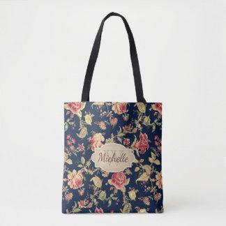 Vintage Floral Blue Rose Monogram & Name Tote Bag