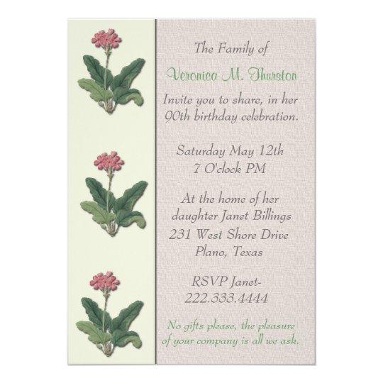 Vintage Floral Botanical Birthday party Invitation