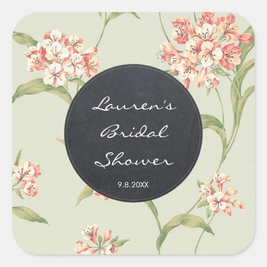 Vintage floral botanical bridal shower stickers