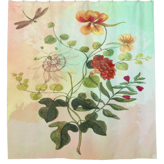 Vintage Floral Botanical Illustration Flowers Art Shower Curtain