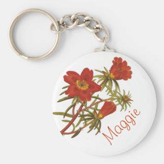 Vintage Floral Botanical Name Keychain