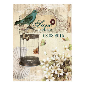 vintage floral botanical wedding save the date postcard
