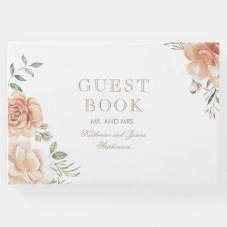 Vintage Floral Bouquet Watercolor Wedding Guest Book