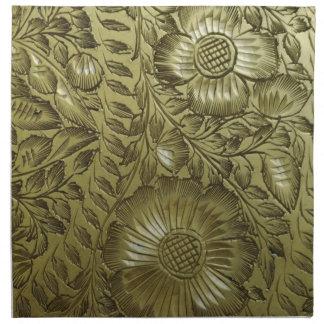 Vintage Floral Brass Napkins