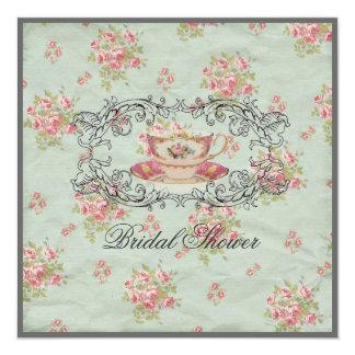 "vintage floral Bridal Shower Tea Party Invitation 5.25"" Square Invitation Card"