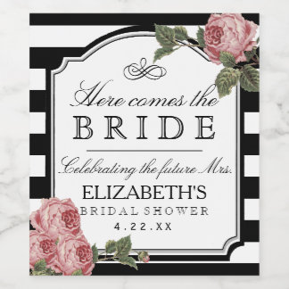 Vintage Floral Bridal Shower Wine Bottle Label