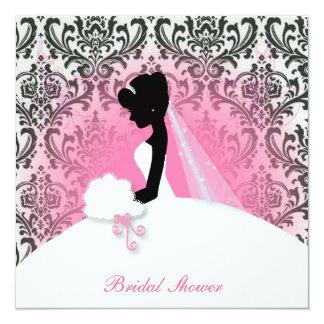 vintage floral bride silhouette bridal shower card