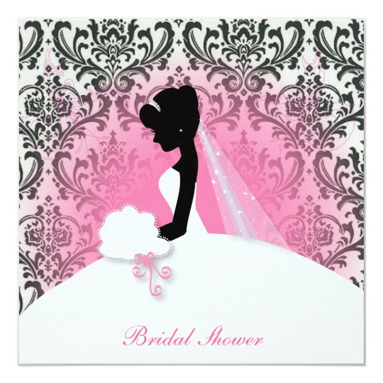 vintage floral bride silhouette bridal shower card
