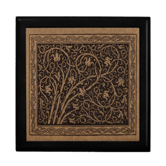 Vintage Floral Brown Swirls Large Square Gift Box