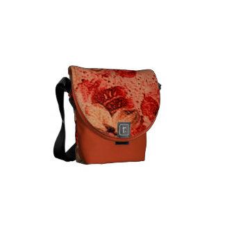 Vintage Floral Burnt Orange Violets Courier Bag