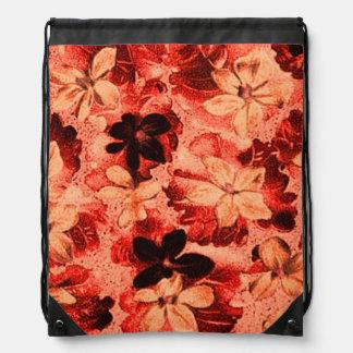 Vintage Floral Burnt Orange Violets Drawstring Bags