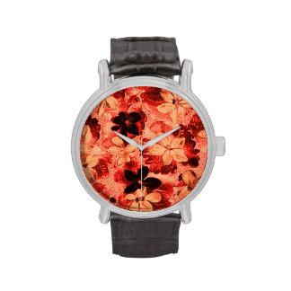 Vintage Floral Burnt Orange Violets Wristwatches