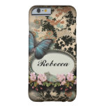 vintage floral butterfly monogram girly paris barely there iPhone 6 case