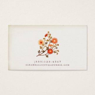 Vintage Floral  Calling Card Red Orange Flowers
