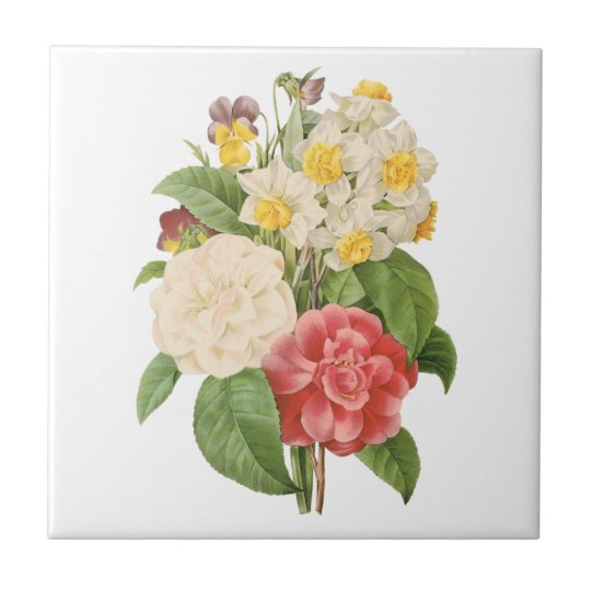 Vintage Floral Camelia Daffodil Flowers by Redoute Tile