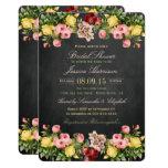 Vintage Floral Chalkboard Bridal Shower 13 Cm X 18 Cm Invitation Card
