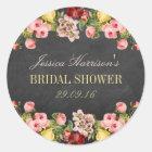 Vintage Floral Chalkboard Bridal Shower Classic Round Sticker