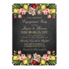 Vintage Floral Chalkboard Engagement Party Card