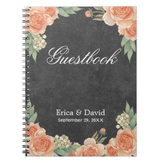 Vintage Floral Chalkboard Garden Wedding Guestbook Spiral Notebook