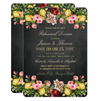 Vintage Floral Chalkboard Wedding Rehearsal Dinner 13 Cm X 18 Cm Invitation Card