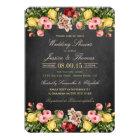 Vintage Floral Chalkboard Wedding Shower Card