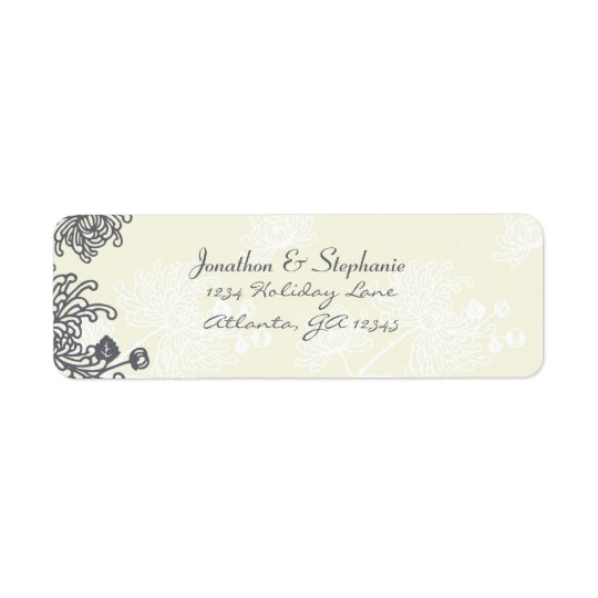 Vintage Floral Charcoal and Ivory Wedding Labels