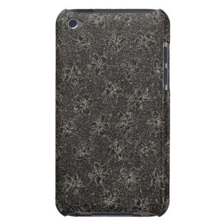 Vintage Floral Charcoal Gray Black iPod Touch Case