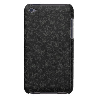 Vintage Floral Charcoal Gray Black Flowers iPod Touch Case-Mate Case