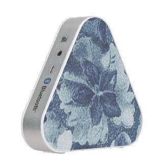 Vintage Floral Charcoal Gray Blue Violets Flowers Speaker