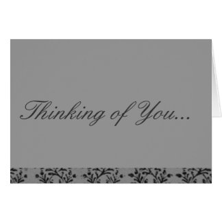 Vintage Floral Charcoal Sterling Silver Gray Greeting Card