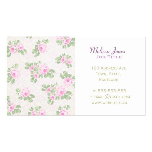 Vintage floral chic pink roses business cards