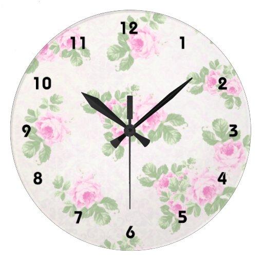 Vintage floral chic pink roses wall clocks