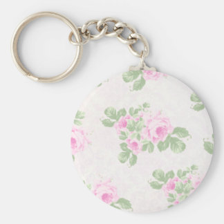 Vintage floral chic pink roses keychain