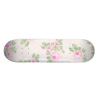 Vintage floral chic pink roses skateboard decks