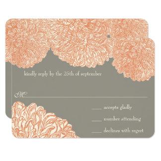 Vintage Floral Chrysanthemum Gray and Peach Card