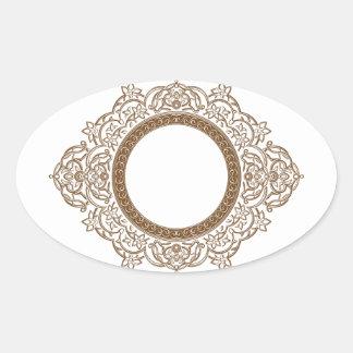 Vintage Floral Circle Ornament Oval Sticker