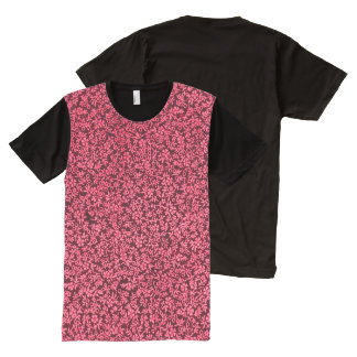 Vintage Floral Claret Ruby Red All-Over Print T-Shirt