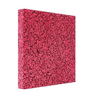 Vintage Floral Claret Ruby Red Stretched Canvas Prints