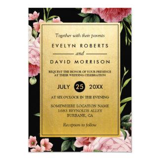 Vintage Floral Classy Golden Formal Wedding Invite