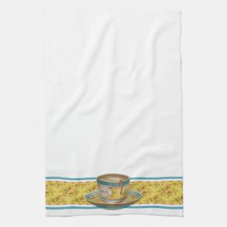 Vintage Floral Coffee Cup Tea Towel