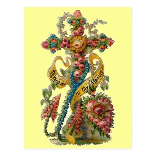 Vintage Floral Condolence Cross Postcard
