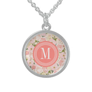 Vintage Floral Coral Peach Girly Flowers Round Pendant Necklace