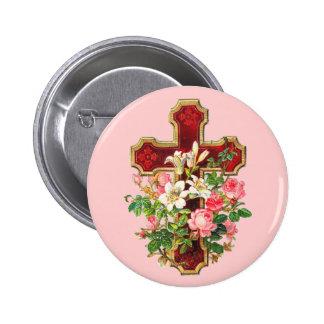 Vintage Floral Cross 6 Cm Round Badge