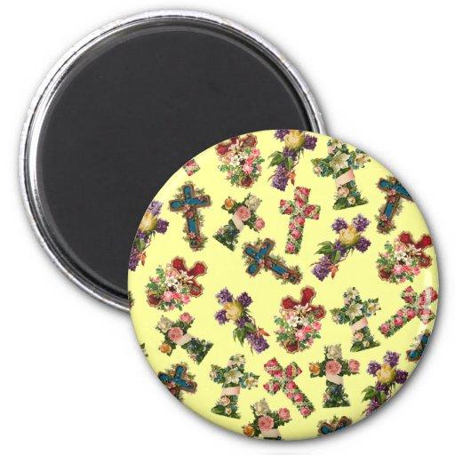 Vintage Floral Cross 6 Cm Round Magnet