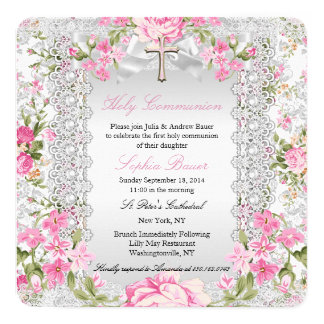 Vintage Floral Cross First Communion Pink 4 13 Cm X 13 Cm Square Invitation Card