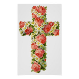 Vintage Floral Cross Poster - Customizable