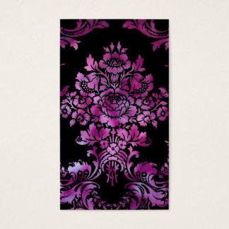 Vintage Floral Damask Design Pink Black Business Card