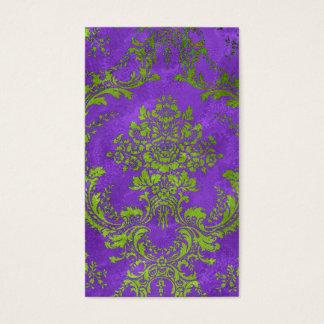 Vintage Floral Damask Design Purple Green