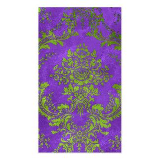 Vintage Floral Damask Design Purple Green Business Card