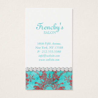 Vintage Floral Damask Fashion Jewelry Business Card